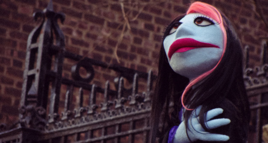 Goth puppet girl in Park Slope - cover photo