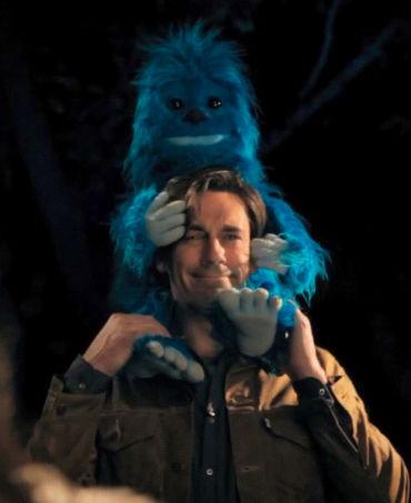 Jon Hamm, bonding with a blue yeti. Image courtesy of Funny Or Die