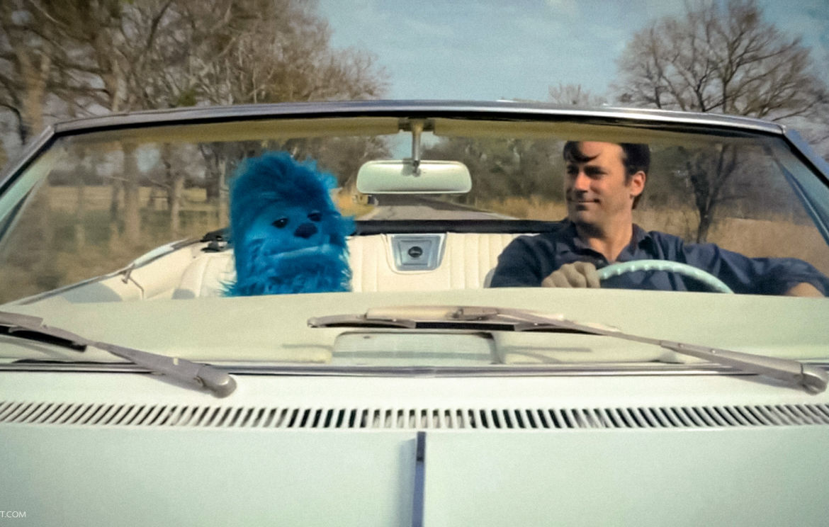 Jon Hamm and Blue yeti puppet