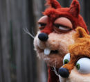 Two squirrel puppets